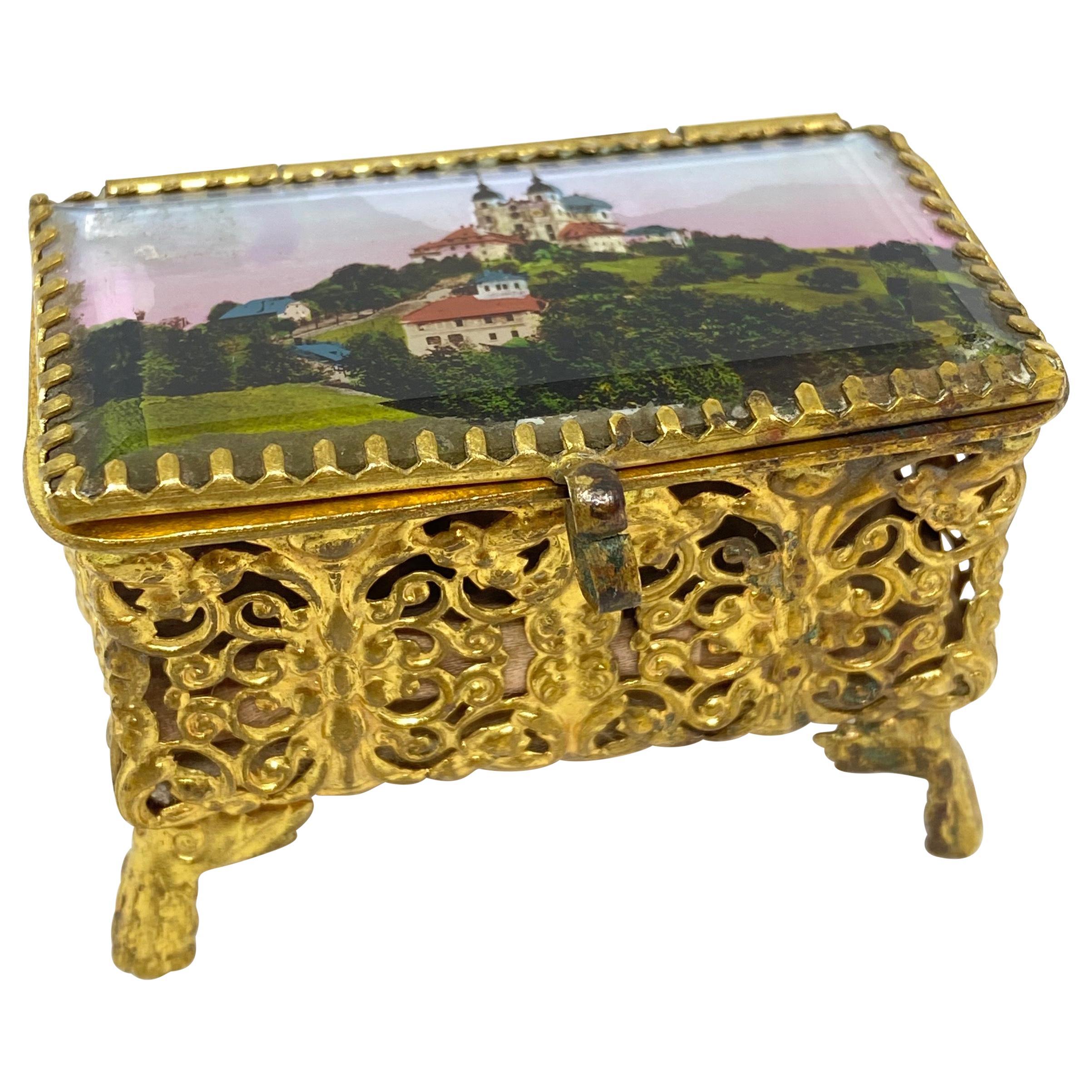 Antique German Casket Trinket Box Ormolu Glass Satin City Souvenir, 1900s