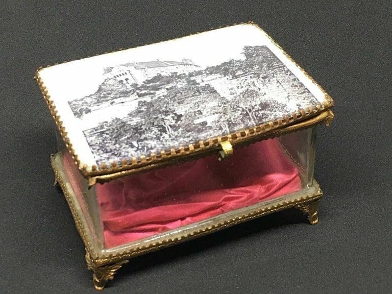 Antique German Casket Trinket Box Ormolu Glass Satin Nuremberg Souvenir, 1890s For Sale 5