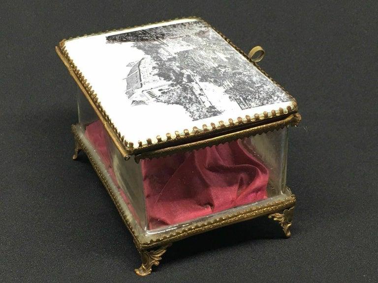 Early 20th Century Antique German Casket Trinket Box Ormolu Glass Satin Nuremberg Souvenir, 1890s For Sale