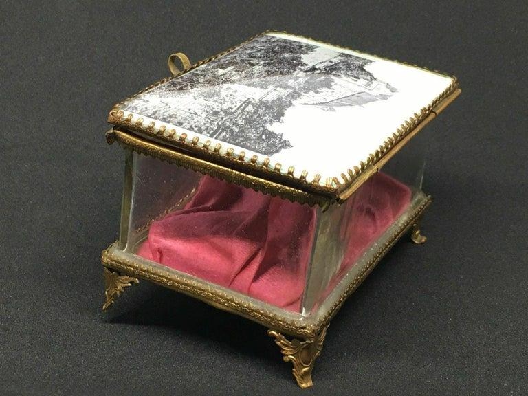 Antique German Casket Trinket Box Ormolu Glass Satin Nuremberg Souvenir, 1890s For Sale 1