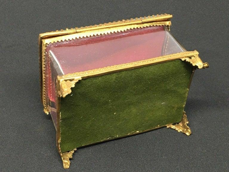 Antique German Casket Trinket Box Ormolu Glass Satin Nuremberg Souvenir, 1890s For Sale 3