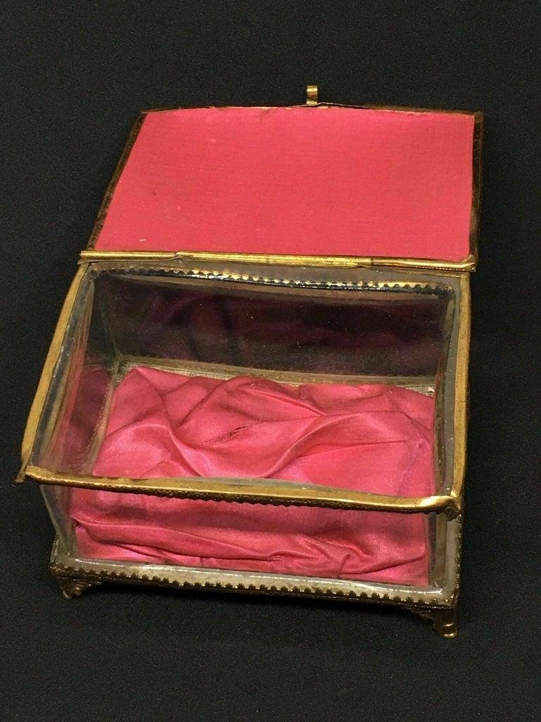 Antique German Casket Trinket Box Ormolu Glass Satin Nuremberg Souvenir, 1890s For Sale 4