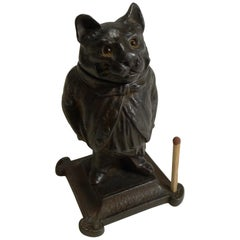 Antique German Cast Iron Novelty Go-To-Bed Match Striker, Cat