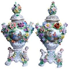 Antique German Classical Dresden Figural Cherub & Floral Porcelain Urns