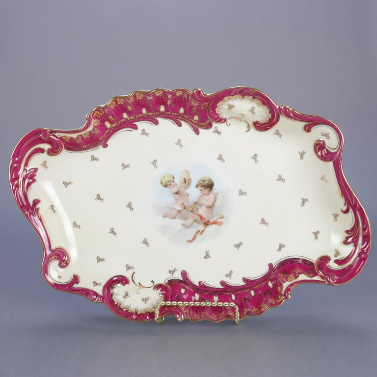 Antique German Classical Dresden School Hand Painted and Gilt Porcelain Platter In Good Condition For Sale In Big Flats, NY