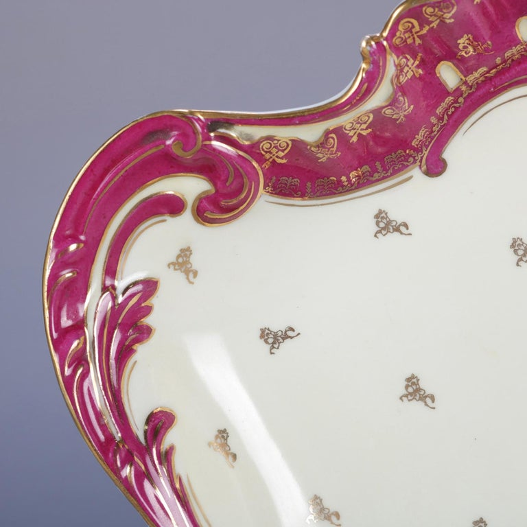 Antique German Classical Dresden School Hand Painted and Gilt Porcelain Platter For Sale 1