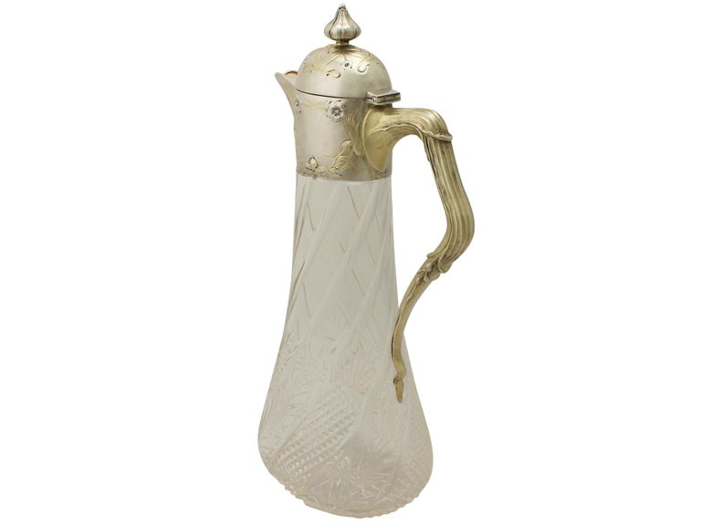 Late 19th Century Antique German Cut-Glass and Silver Mounted Claret Jug For Sale