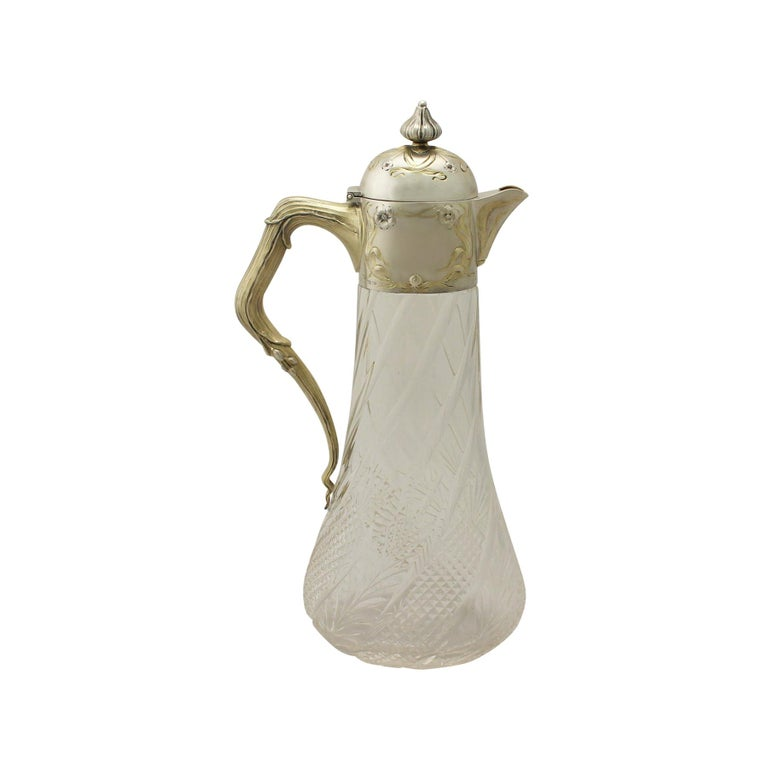 Antique German Cut-Glass and Silver Mounted Claret Jug For Sale