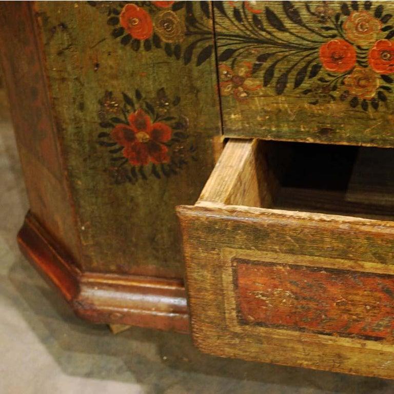 Antique German Decorative Hand Painted One Door Wardrobe Cabinet For Sale 4