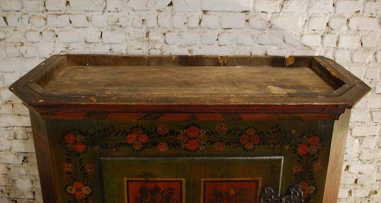 Antique German Decorative Hand Painted One Door Wardrobe Cabinet For Sale 6
