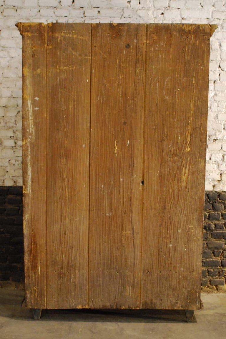 Antique German Decorative Hand Painted One Door Wardrobe Cabinet For Sale 8
