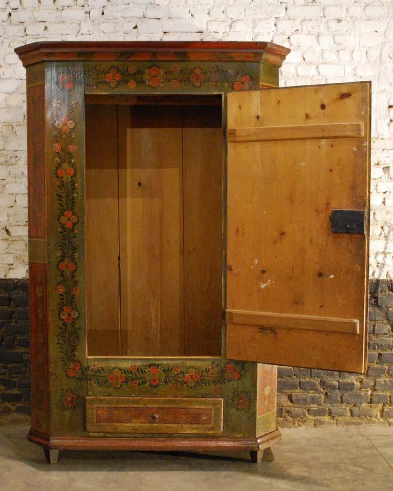 Folk Art Antique German Decorative Hand Painted One Door Wardrobe Cabinet  For Sale - Antique German Decorative Hand Painted One Door Wardrobe Cabinet For