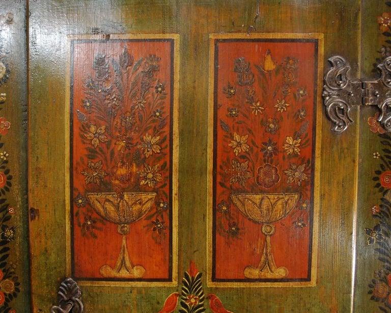 Antique German Decorative Hand Painted One Door Wardrobe Cabinet In Good Condition For Sale In Casteren, NL