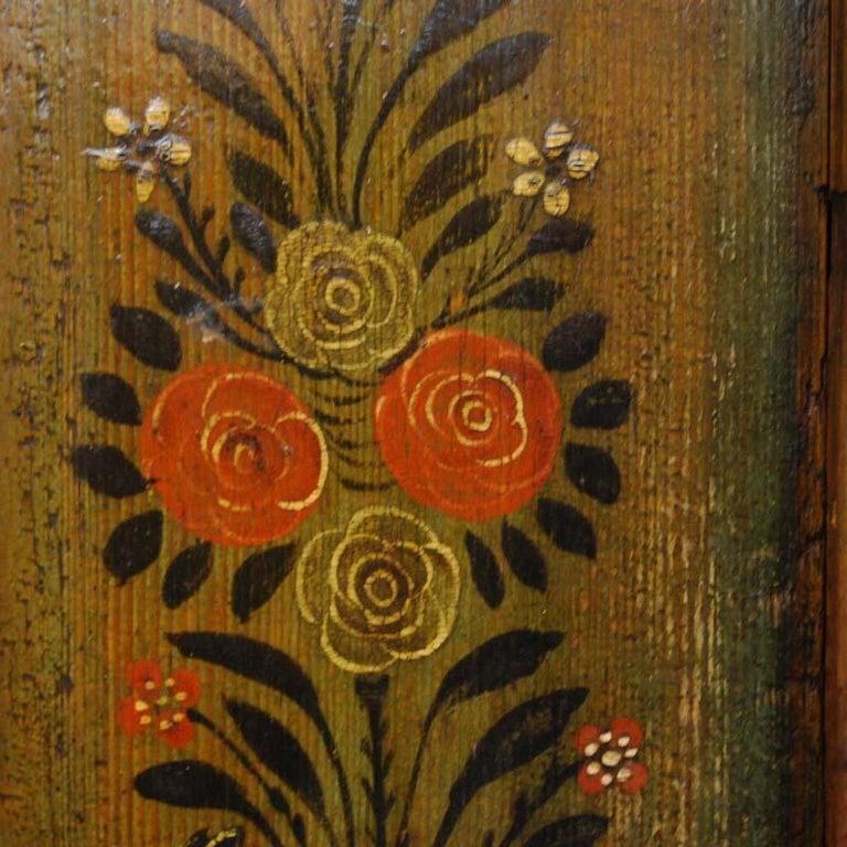Pine Antique German Decorative Hand Painted One Door Wardrobe Cabinet For Sale