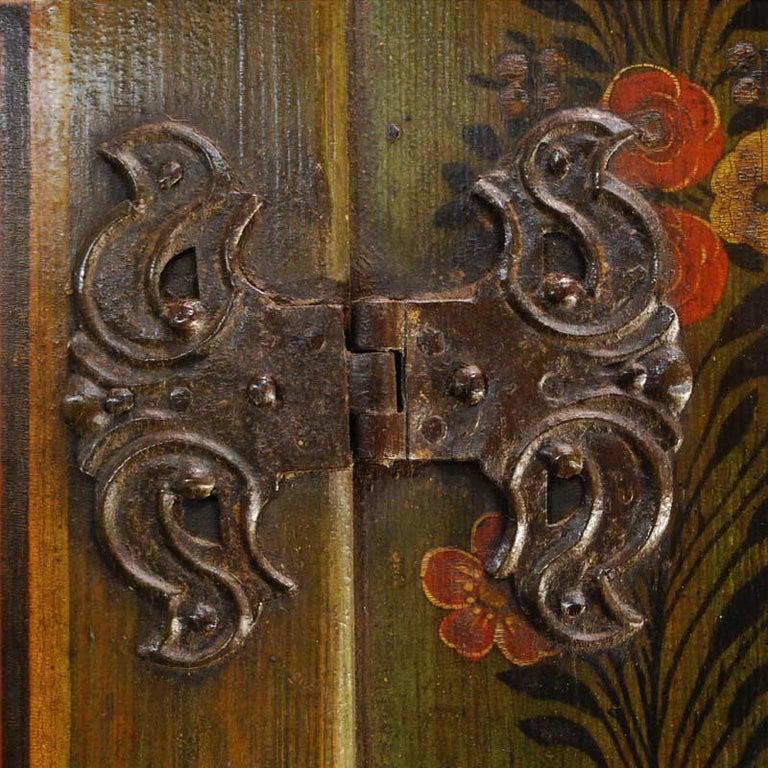 Antique German Decorative Hand Painted One Door Wardrobe Cabinet For Sale 1