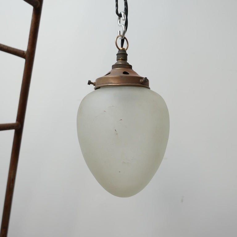 Antique German Etched Glass Brass Pendant Lights '2' For Sale 1