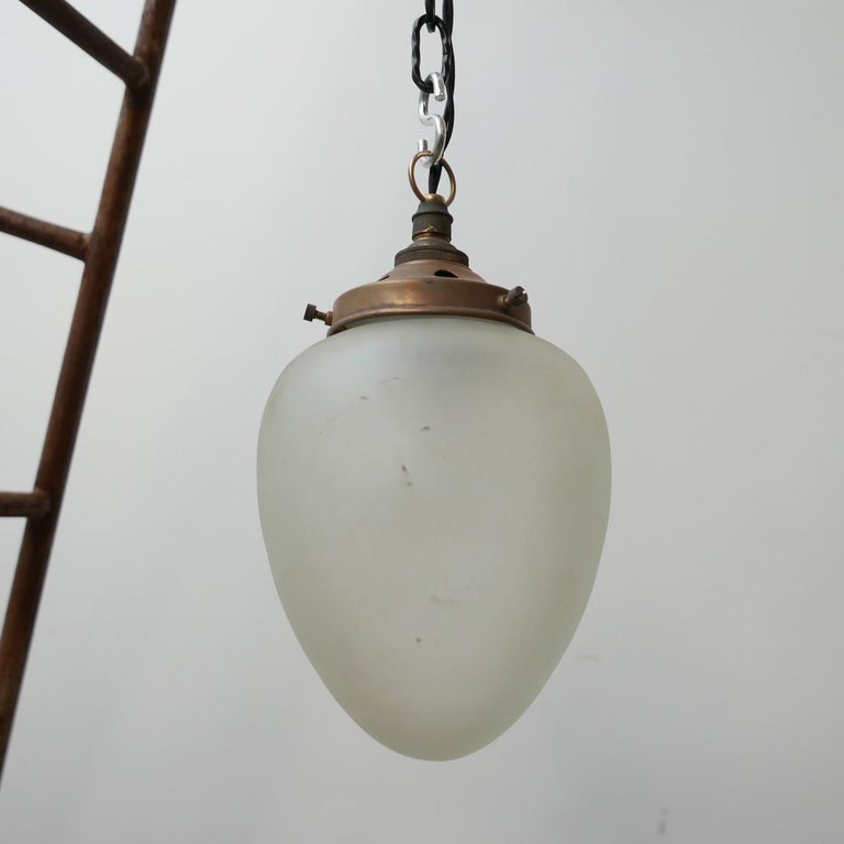 Antique German Etched Glass Brass Pendant Lights '2' For Sale 3