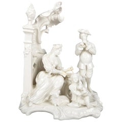 Antique German Figural Blanc de Chine Family Grouping, Parlor Music Scene