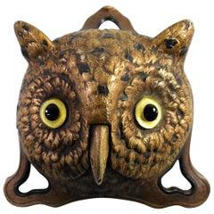 Antique German Figural Owl Desk Bell Original Glass Eyes D.R.G.M.