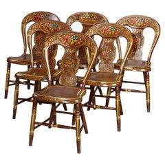 Antique German Folk Art Stenciled Fruit & Foliate Balloon Back Chairs, 19th C