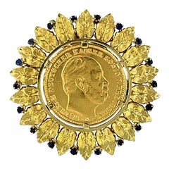 Antique German Gold Coin Sapphire Gold Brooch and Pendant