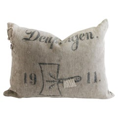 Antique German Grain Sack Linen Pillow with Original Stamped Details