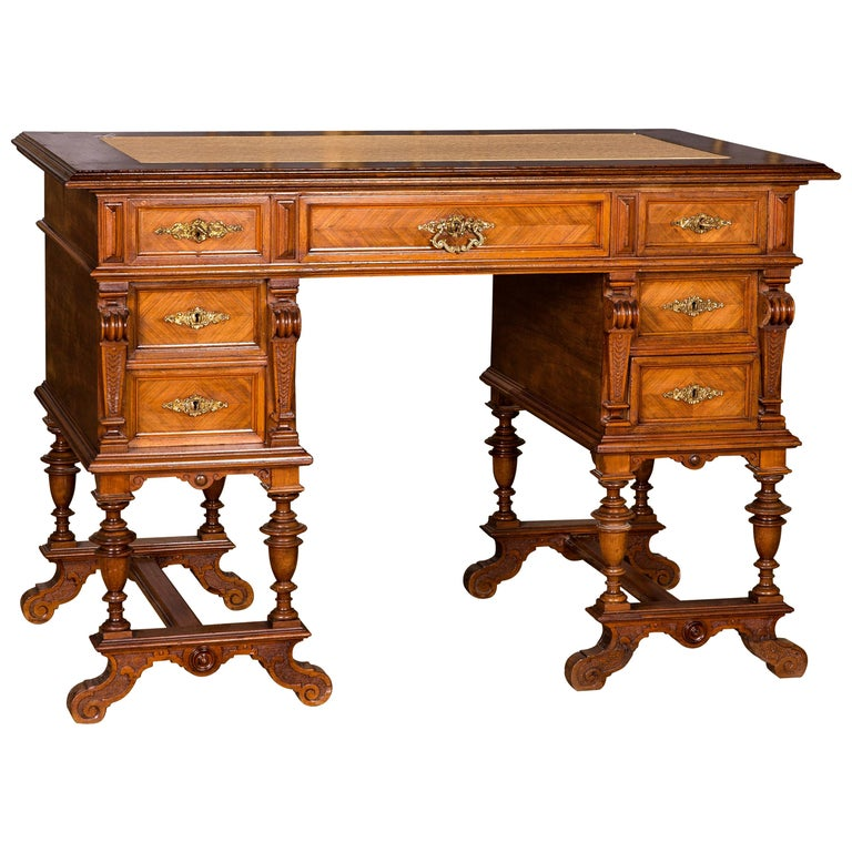 Antique German Gründerzeit Desk, circa 1880 For Sale