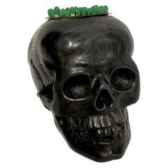 Antique German Gunmetal Skull Match Holder/Strike
