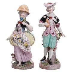 Antique German Hand Painted Meissen Porcelain Figures, Courting Couple