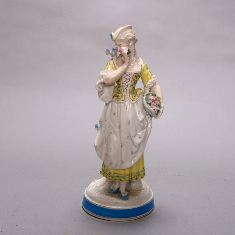 An antique German porcelain figure by Meissen depicts hand painted maiden in countryside setting, signed on base as photographed, circa 1900  DELIVERY NOTICE – Due to COVID-19 we are employing NO-CONTACT PRACTICES in the transfer of purchased items.
