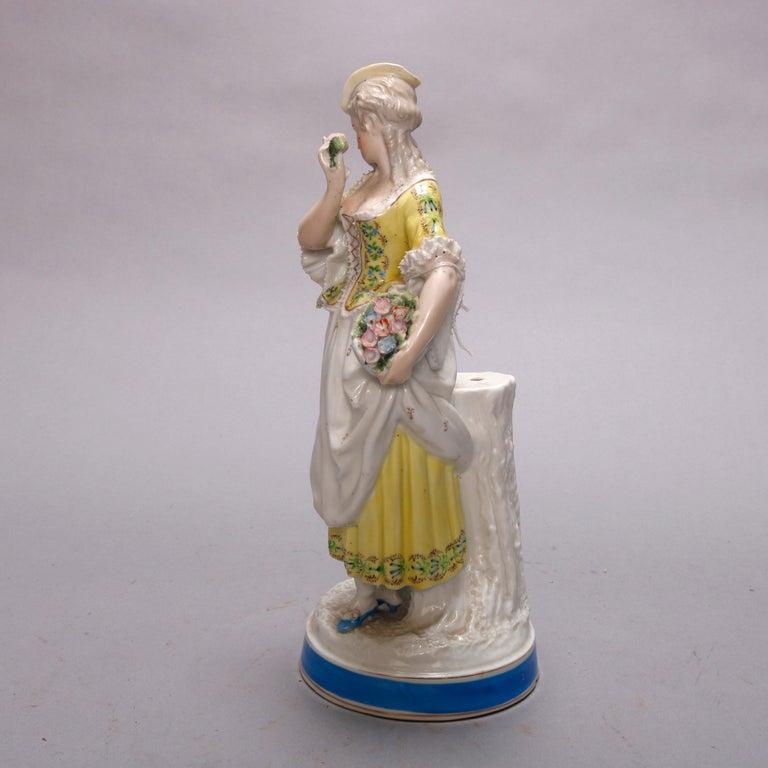 Hand-Painted Antique German Hand Painted Meissen Porcelain Maiden Figure, circa 1900 For Sale