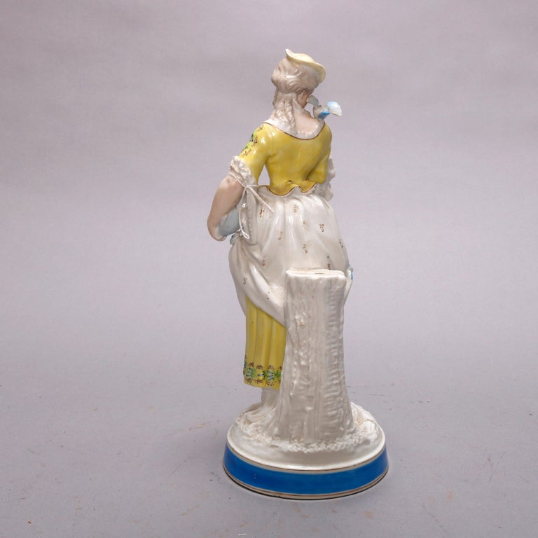Antique German Hand Painted Meissen Porcelain Maiden Figure, circa 1900 In Good Condition For Sale In Big Flats, NY