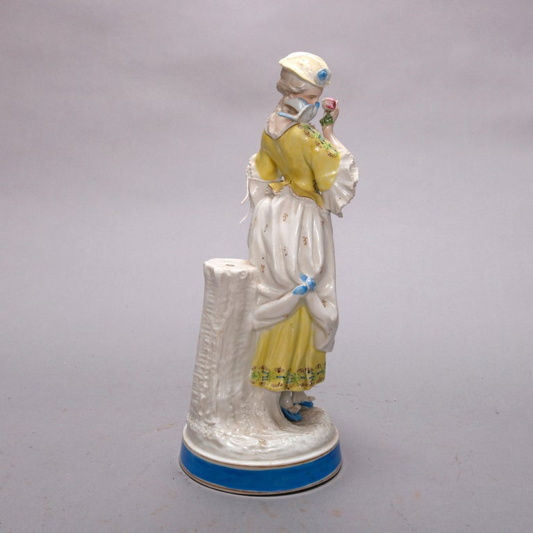 20th Century Antique German Hand Painted Meissen Porcelain Maiden Figure, circa 1900 For Sale