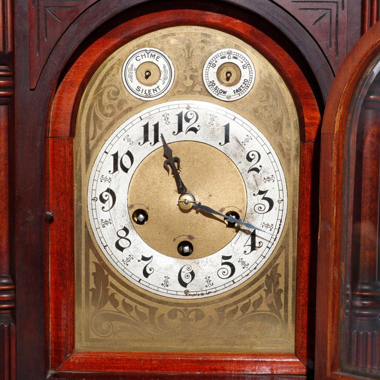 20th Century Antique German Junghan Carved Mahogany Bracket Clock, circa 1910 For Sale