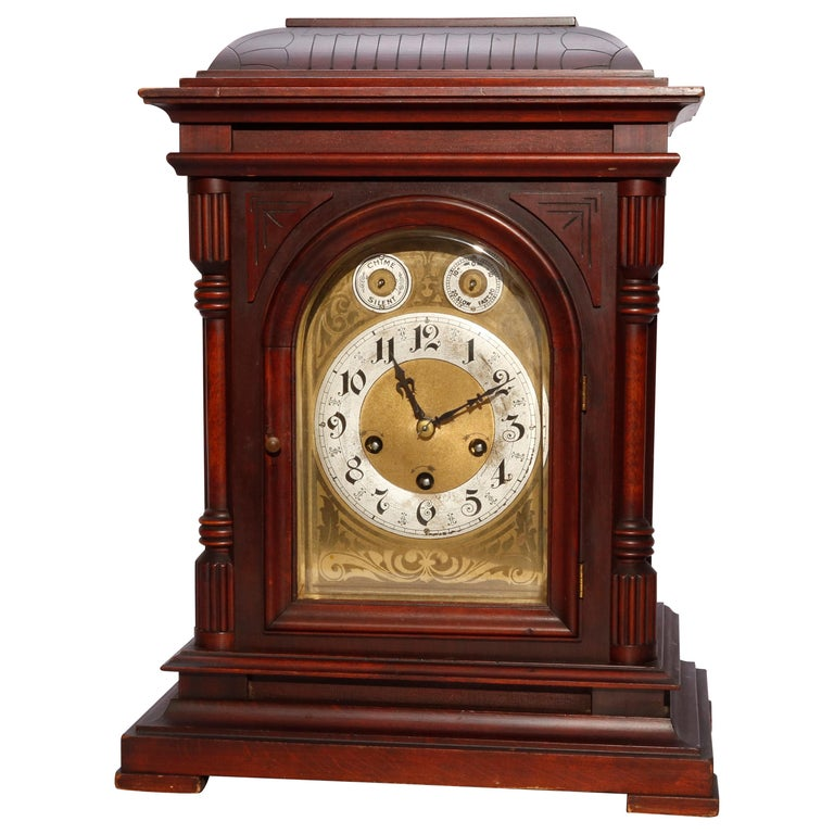 Antique German Junghan Carved Mahogany Bracket Clock, circa 1910 For Sale
