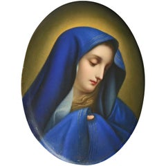 Antique German KPM Hand Painted Porcelain Portrait Plaque of Mother Mary