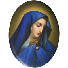 Antique German KPM Hand Painted Porcelain Portrait Plaque of Mother Mary