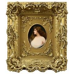 "German KPM School Porcelain Portrait Plaque After Asti's ""Erbluht"" circa 1890"