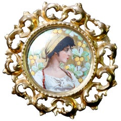 Antique German KPM Style Portrait Plaque in Reticulated Giltwood Frame