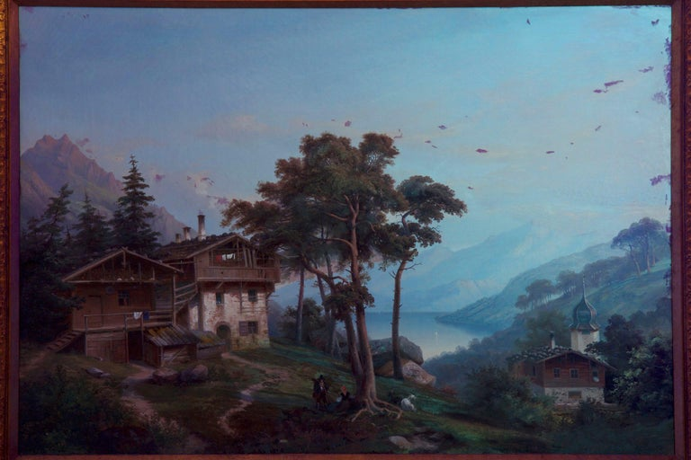 Antique German Landscape Oil Painting of Chalet on Lake by Hermann Seefisch For Sale 13