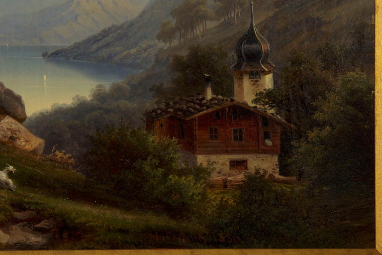 Antique German Landscape Oil Painting of Chalet on Lake by Hermann Seefisch For Sale 3