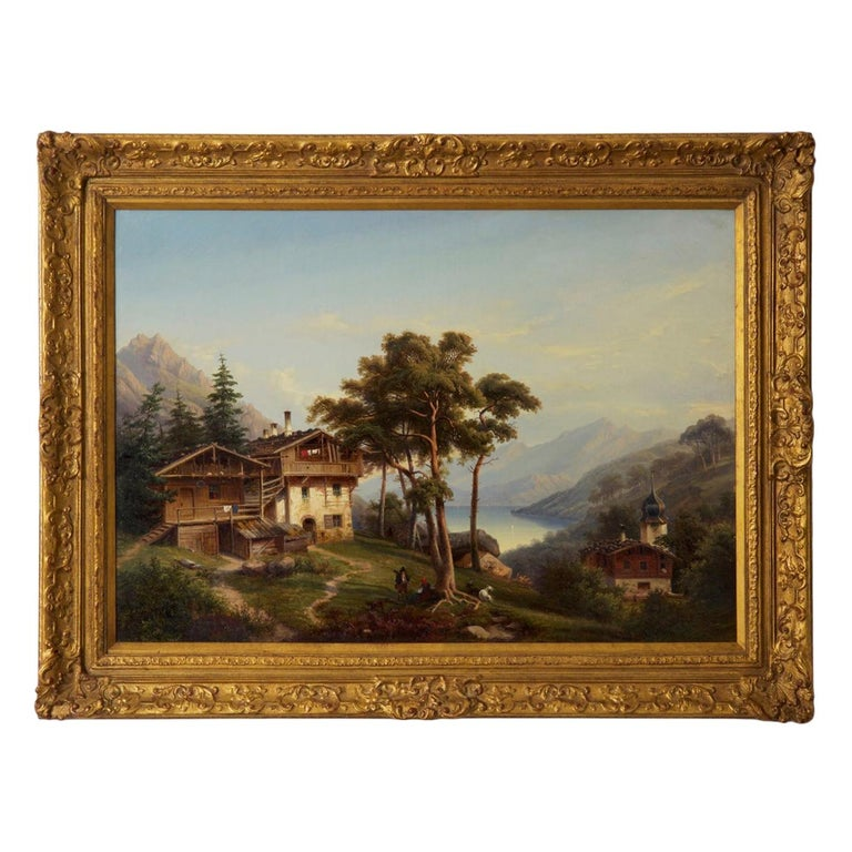 Antique German Landscape Oil Painting of Chalet on Lake by Hermann Seefisch For Sale