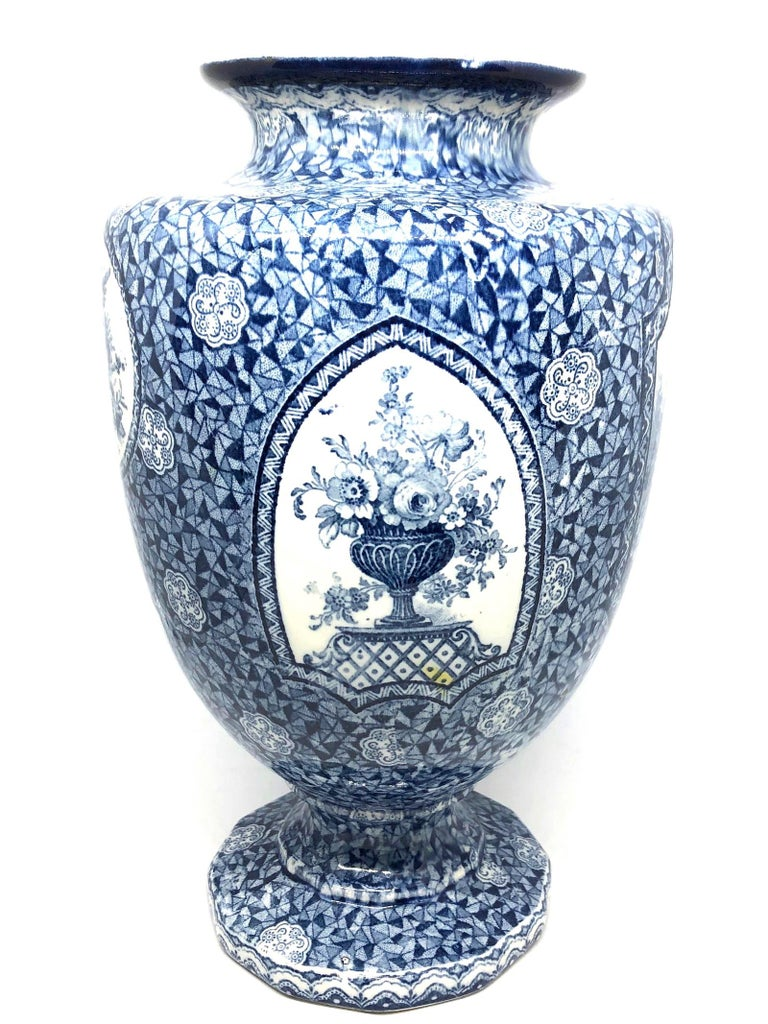 Antique German Large Footed Transferware Scenic Vase, 1890s 2