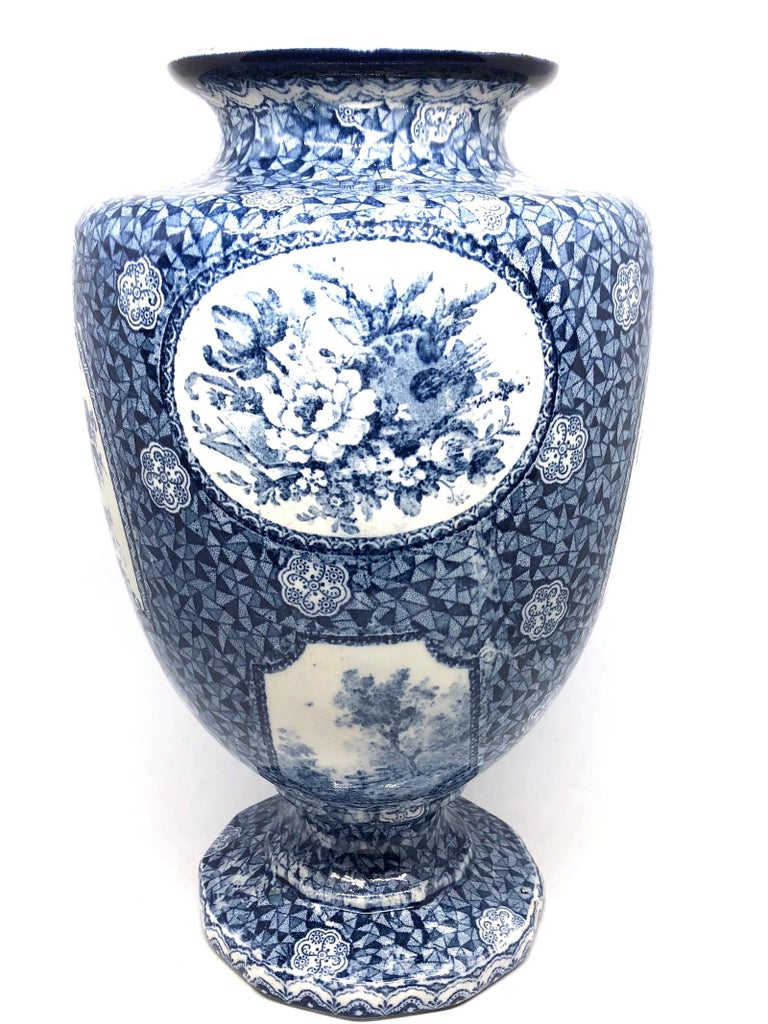 Antique German Large Footed Transferware Scenic Vase, 1890s 3