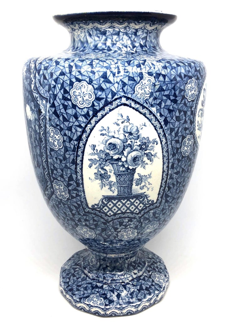 Antique German Large Footed Transferware Scenic Vase, 1890s 4