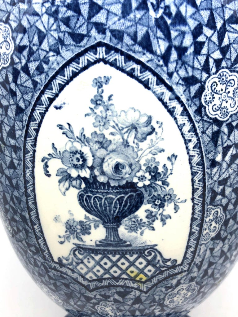 Antique German Large Footed Transferware Scenic Vase, 1890s 6