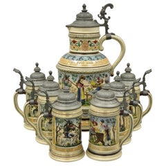 Antique German Lidded Beer Stein 7-Piece Set by Marzi and Remy #979 Cavalier