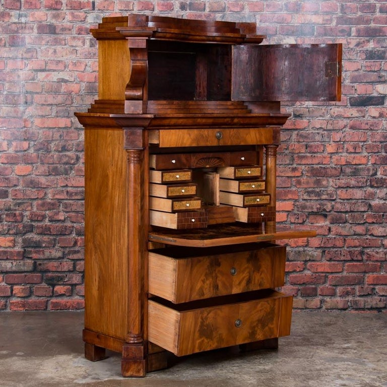 Antique German Mahogany Biedermeier Secretary Desk In Good Condition For Sale In Denver, CO