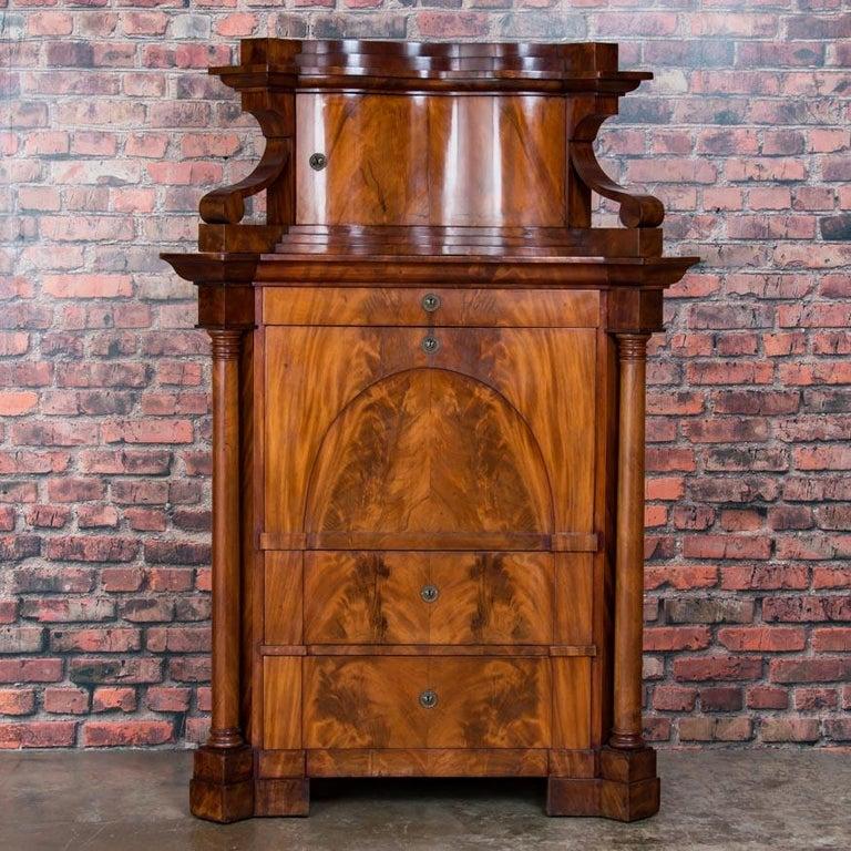 19th Century Antique German Mahogany Biedermeier Secretary Desk For Sale