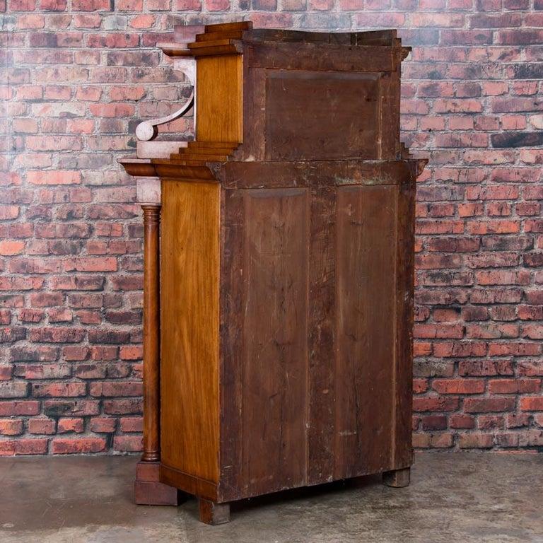 Wood Antique German Mahogany Biedermeier Secretary Desk For Sale